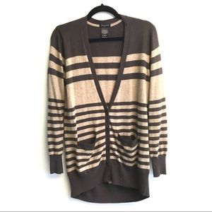 ARITZIA Striped Cashmere Cardigan Sweater Brown S